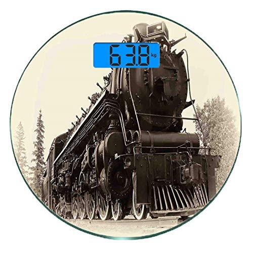 Digitale Präzisionswaage für das Körpergewicht Runde Dampfmaschine Ultra dünne ausgeglichenes Glas-Badezimmerwaage-genaue Gewichts-Maße,Antike Northern Express Zug Kanada Eisenbahnen Foto Fracht Masch