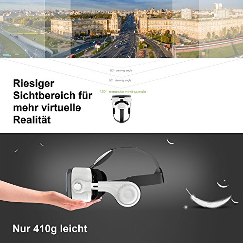 Zanasta VR 3D Brille Virtual Reality Box mit Kopfhörer + Bluetooth Controller Universal Virtuelle Realität Headset Video Gaming für Apple iPhone, Samsung Galaxy, Sony Xperia und mehr