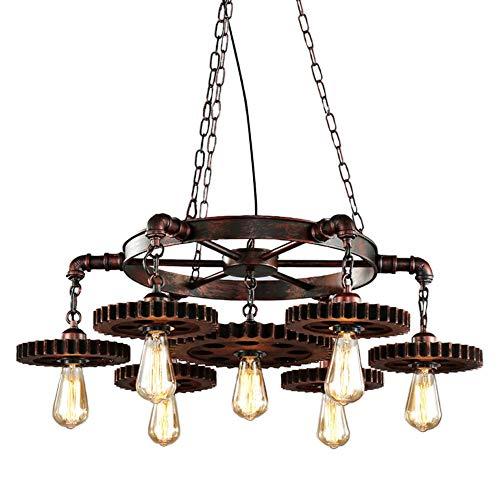 CARYS Pendelleuchten Holz Rustikal Hängeleuchte Vintage Esstisch Hoehenverstellbar Hängelampe Rund E27 leuchten Retro Schwarz Esszimmer Küche Wohnzimmer Schlafzimmer -