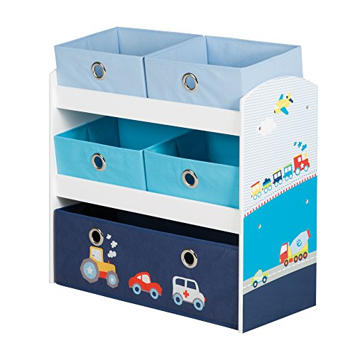 roba Spielregal \'Rennfahrer\', Spielzeug- & Aufbewahrungs-Regal fürs Kinderzimmer, inkl. 5 Stoffboxen m, Auto blau