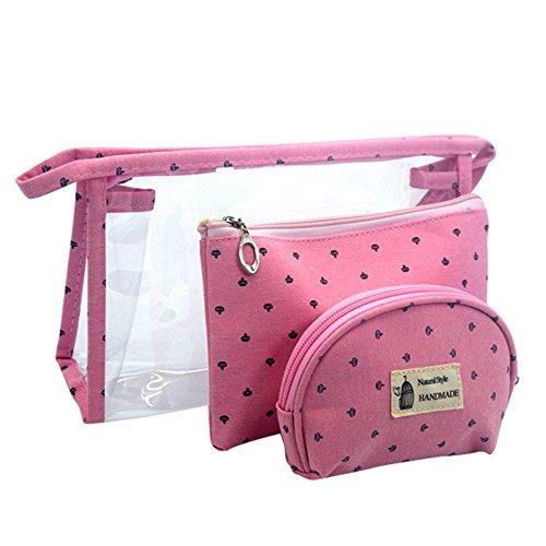 Longra Donna Sacchetto cosmetico trasparente, sacchetto di stoccaggio, sacchetto della borsa Rosa