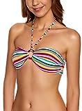 oodji Ultra Damen Bikinioberteil mit Zierring, Mehrfarbig, 70A / 32A