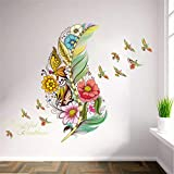 Hwhz Feather Birds Flower Wall Stickers 3D Vivid Wall Decals Home Decor Art Decal Poster Animals Home Decor Mural