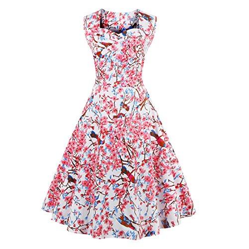 Babyonline 40s 50s 60s Vintage V-Ausschnitt Schwingen Rockabilly Pinup Ballkleid Partei Kleid 3XL