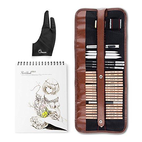 29 Stück Profi-Skizze & Zeichnung Kunst-Tool-Kit mit Graphit-Bleistifte, Holzkohle-Bleistifte, Papier-löschbare Stift, Handwerk Messer-Lightwish (mit Sketchbook, Leinwand Rolling (Einfache Malerei Ideen)