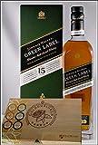 Johnnie Walker Green Label 15 Jahre Blend Malt Whisky mit 45 DreiMeister Edel Schokoladen im Holzkistchen, kostenloser Versand