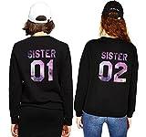 Pullover Best Friends Beste Freundin für Zwei Sweatshirt Sister BFF Pullis Mädchen Teenager Schwarz Hoodie Damen Buchstaben Kurz Geschenk 2 Stücke(Schwarz,sister-01-M+sister-02-XL)