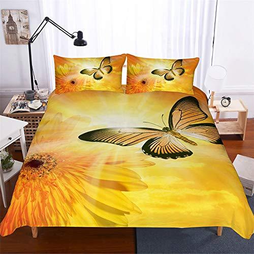 Morbuy Bettwäsche Bettbezug Set, 3 Teilig Bettgarnitur Bettwäsche - Set Gemütlich 3D 100{77f451ad59c77af92d1cad9461e3e9cca6e6a5eed3fd448e813a40c203fcaaa7} Mikrofaser mit Reißverschluss 1 Bettbezug + 2 Kissenbezug (200x200, Sonnenblume Schmetterling)