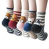Süße Damen Mädchen Socken 4/5 Paar, mit Lustiger Tiere Malerei (MIX 4)