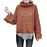 Damen Strickpullover SHOBDW Winter Frauen Mode Simplicity Solid Hoher Kragen Langarm Gestrickt Tops Bluse Shirts Warme Elegant Lose Lang Strickwaren Outwear Pullover Sweatshirt