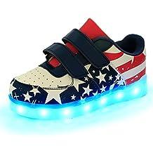 DoGeek Zapatos Led Niñas Deortivos para 7 Color USB Carga LED Luz Glow USB Flashing Zapatillas
