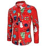 Fenverk Lange äRmel Weihnachten Geschenk Hemden Weihnachtsmann Drucken Schneemann Party Gedruckt Designs Herren Hemd Taste Runter Weihnachtsstil Baum üBergrößE Tops Sweatshirts(Rot 3,XL)