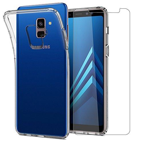 Leathlux Samsung Galaxy A8 2018 Hülle + Panzerglas, Samsung A8 2018 Durchsichtig Case Transparent Silikon TPU Schutzhülle Premium 9H Gehärtetes Glas für Samsung Galaxy A8 2018