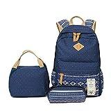ZUNIYAMAMA Schnitt Leinwand Schulrucksack + Schultertasche + Mittagessen 3 Set für Jugendlich Mädchen / Damen blau