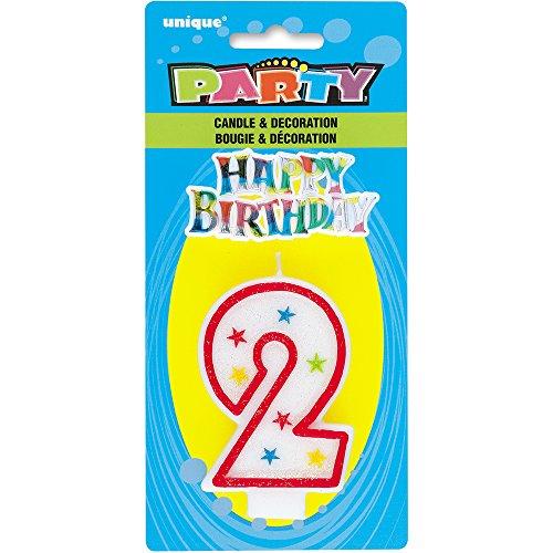 Unique Party - 37312 - Bougie à Paillettes d'Anniversaire Numéro 2 et Décoration pour Gâteau - Happy Birthday 0011179373123