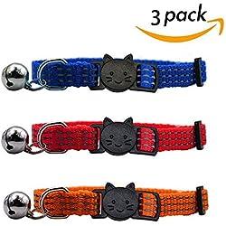 SCENEREAL CO. Juego de collar para gato con campana reflectante de seguridad, hebilla de liberación rápida, 3 piezas, azul, rojo y naranja