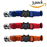 SCENEREAL CO. Cute Cat Collar Set with Bell Reflective Safety Quick Release Breakaway Buckle 3 Pcs Blue Red and Orange