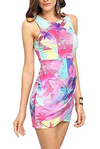 Damen Kleid Blusenkleid Schrittrock Ärmellos O Ausschnitt Rückenfrei Die Neue Blumendrucken Figurbetont Trägertop Einteiler Sommer 2017 Pink
