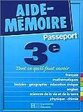 Aide-Mémoire Passeport : 3e - 14-15 ans