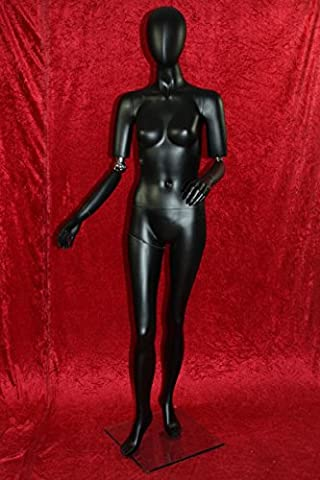 Window mannequin Female Shining Black Movable arms