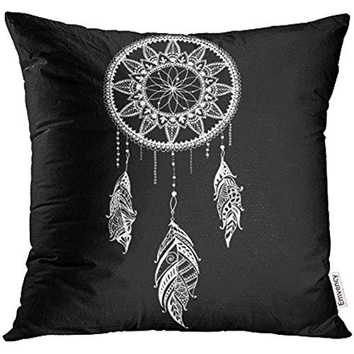 Ducan Lincoln Pillow Case Fundas De Cojín Mandala Azteca Atrapasueños con Plumas Tribal Étnico Indios Americanos Símbolo Tradicional Cojín Funda De Almohada Sofá Estampado Cuadrado