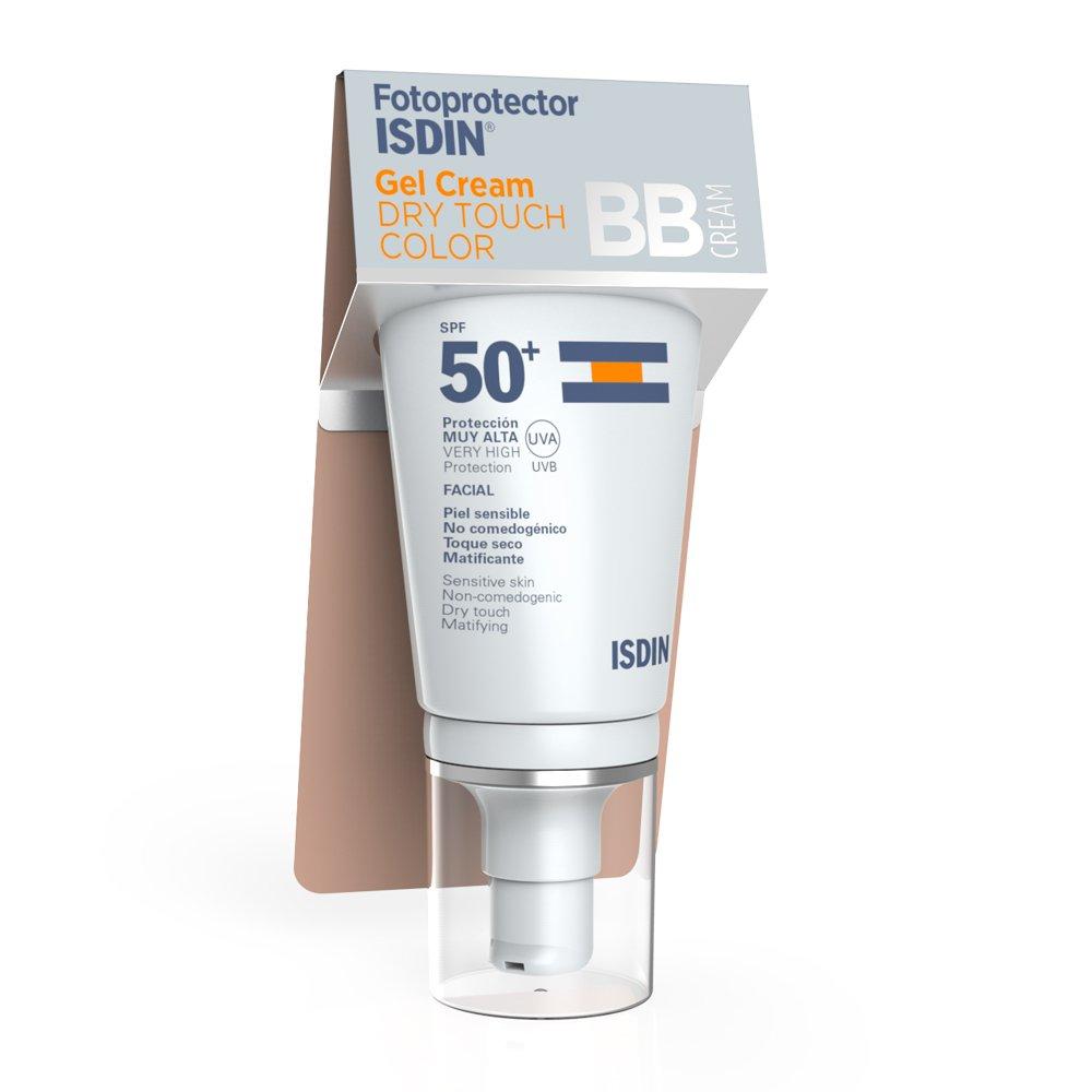 Fotoprotector ISDIN Gel Cream Dry Touch Color SPF 50+ – Protector solar facial BB Cream con toque seco y mate, 50 ml