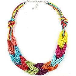 Claire Jin Millet Grano Collar Bohemio Mujer Joyería étnica Gargantilla Joyas (1- Multicolores)