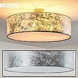 Foggia Deckenlampe mit silbernem Stoffschirm – moderne Deckenlampe mit textilem Lampenschirm - Ø 60 cm - Zimmerlampe für Wohnzimmer, Flur, Dielen, Schlafzimmer, Küche - LED-fähig - 3x E14-40 Watt