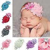 iEFiEL 10 Pcs Baby Mädchen Ruffle Blumen Stirnband Haarband Kopfband Strass Kinder Haar Kopfschmuck