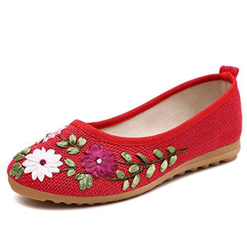 Binying Vintage Stile da Donna Cinese Ricamo Scarpe Casual Flats Con Suola Morbida Slip On Scarpe da Trekking Rosso