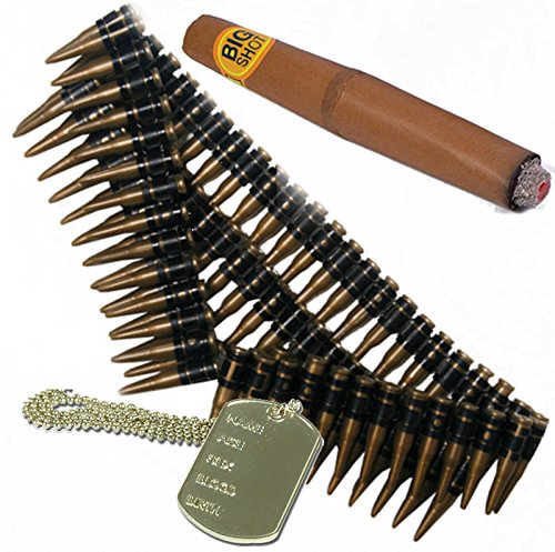 Das Kostüm Terminator - Bullet Gürtel, Hundemarke und Cigar. Mexiko, Rambo, Terminator-Kostüm