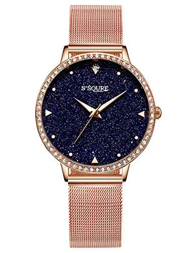 Alienwork Damen-Armbanduhr Quarz Rose-Gold mit Metall Mesh Armband Edelstahl schwarz echtes Marmor Zifferblatt Strass-Steinen