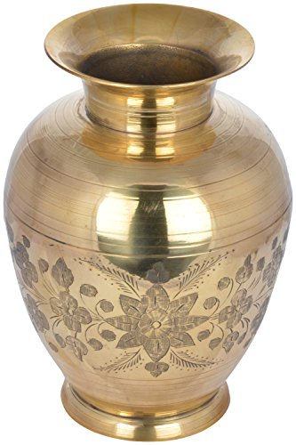 CURIO CENTRE Brass Mini Flower Pot (13 cm x 8 cm x 19 cm, Golden)
