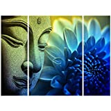 SAF Set of 3 Buddha 6MM MDF UV Textured Home Decorative Gift Item Painting 18 Inch X 12 Inch