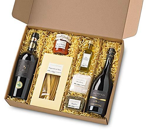Italienischer Präsent Geschenk-Korb / Gourmet Spezialitäten Delikatessen Set mit Prosecco, Rotwein, Pappardelle, Oliven-Öl, Basilikum, Sauce und Meer-Salz -