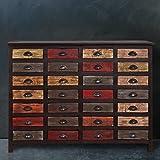 Sideboard mit 28 Schubladen - Apothekerschrank aus altem Holz - bunt lackierte Kommode - Unikat - 143 x 40 x 106 cm - Moriani BUTLERS
