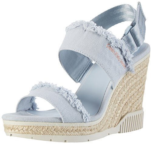 Calvin Klein Jeans Damen Lael Fringe Canvas Peep-Toe Pumps, Blau (Cby), 37 EU