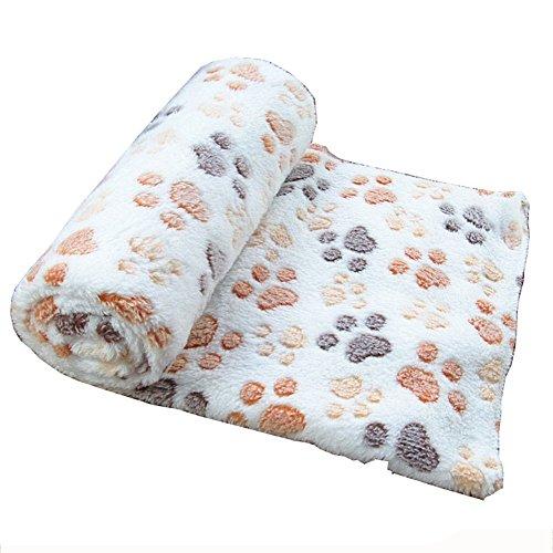 Westeng 1X Manta Forro para Perro Paw Print Perro Gato Pet Mascota Manta Suave Blanket Cama Soft Mat Cubierta size 60 x 40 cm (Beige)