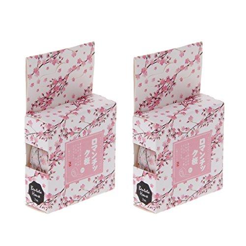 A0127 Ruban Washi Ruban décoratif Clip Art Autocollant Ruban de masquage Scrapbooking de Bricolage 1.5cmx7m Journal Intime Fleur de Cerisier Romantique 2PCS / Box Couleur aléato