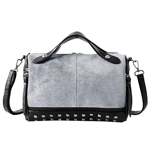 Vintage Women Handtasche Schultertasche Shopper Taschen Umhängetasche,Scrub Pure Color Rivets Zipper Crossbody Bag Shoulder Bag Hand Bag -