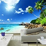 Hwhz Southeast Asia Seaside Sunny Beach Count Trees Clean Blue Water Mural Photo Wall Paper for Bedroom Tv Backdrop Wallpaper Mural-280X200Cm