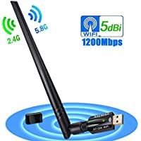 1200Mbps wireless USB wifi adapter,11ac Dual-band 2.4G 300Mbps 5G 867Mbps USB3.0 wifi dongle with 5DBI antenna for laptop desktop pc mac,wireless wifi adapter support AP mode for your phone tablet and more(1200M WIFI 5DBI)