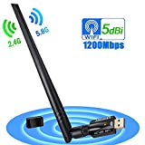ANEWISH 1200Mbps Adaptador WiFi USB 3.0 Wireless USB Adapter con Antena 5dBi Tarjeta de Red 802.11ac Dual Band 2.4G/5.8G Dongle WiFi Receptor WiFi para PC Windows 10/8.1/8/7/Vista, Mac OS 10.9-10.13
