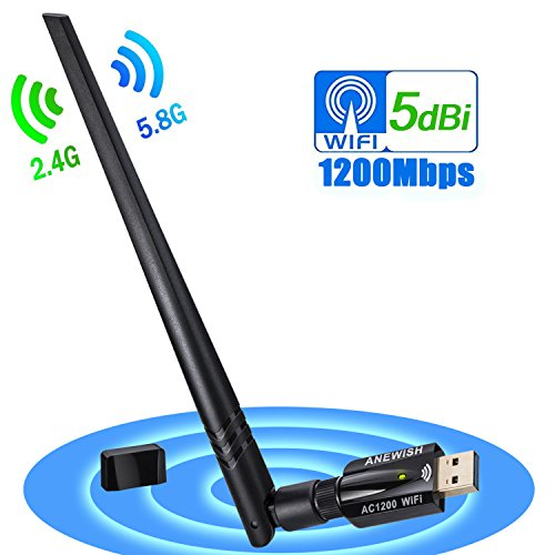 ANEWISH 1200Mbps Adaptador WiFi USB 3.0 Wireless USB Adapter con Antena 5dBi Tarjeta de Red 802.11ac Dual Band 2.4G/5.8G Dongle WiFi Receptor WiFi para PC Windows 10/8.1/8/7/Vista, Mac OS 10.9-10.13 [2018 Versión Actualizada]