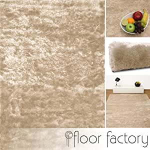 Tapis de salon satin beige cr me 160x230 cm tapis shaggy for Amazon tapis de salon