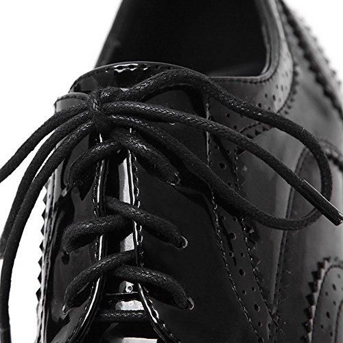 AllhqFashion Femme Rond Lacet Pu Cuir Couleur Unie à Talon Correct Chaussures Légeres Noir