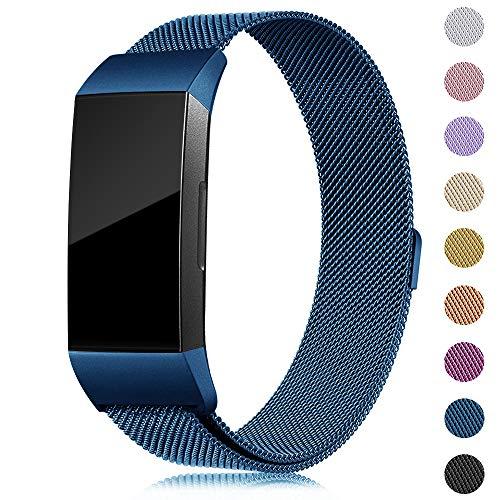 Onedream Kompatibel für Fitbit Charge3 Charge 3 Armband Damen Metall Edelstahl Ersatzarmband Navy blau