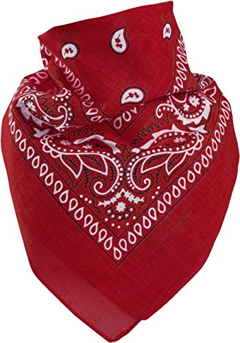 Kind Biker Kostüm - Harrys-Collection Bandana Bindetuch 100% Baumwolle (1 er 6 er oder 12 er Pack), Farbe:12x rot