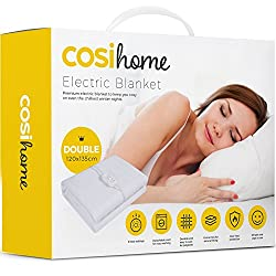 Premium Comfort Double Electric Blanket - Control with 3 Heat Settings, Polyester, White