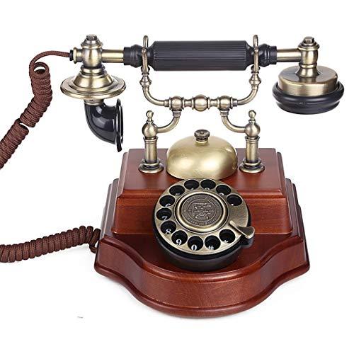 SJIADHJ Retro Home Massivholz Telefon, Festnetz Festnetz, Wählscheibe Rote Nussbaum -